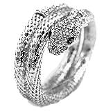 Eozy 1 Stück Unisex Faschion Schlange Retro Weiß Armband Armreifen Weiß Kristall