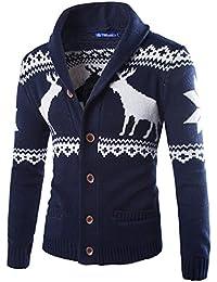 ZhuiKun Cárdigans para Hombre Suéter Navidad Chaqueta de Punto Jerséis con Botones