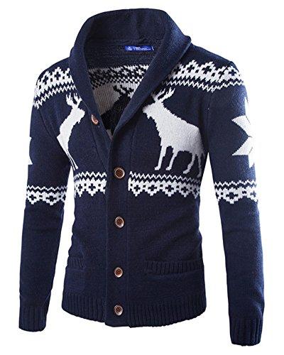 Uomo Cardigan Renna di Natale Maglione Maniche Lunghe Giacca di Maglia Blu Navy