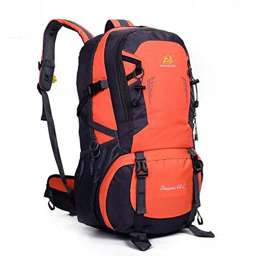 Wasserdichte Outdoor-40L Rucksack Tasche Wandern Camping Bike Travel Bag Day Packs Orange