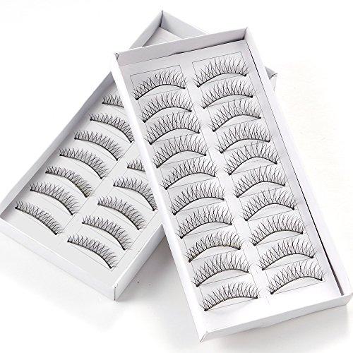 20 paires faux cils cil fin croise noir maquillage yeux eyelash naturel