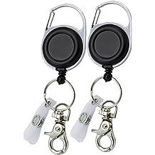 2 Stück Ausweishalter Schlüsselanhänger JoJo starke Feder reißfeste Schnur - für Schlüssel oder Ausweise mit Gürtelclip Schlüsselring und Klemmhaken