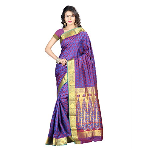 Varkala Silk Sarees Women's Art Silk Kanchipuram Saree With Blouse Piece(JP8101RBRD_Blue_Free Size)
