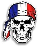 Crâne avec bandana Tête Design avec drapeau France Français Country fantaisie en vinyle Sticker voiture 100x 120mm