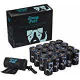 SmugPets 300 Premium Biodegradable Dog Waste Bags with Dispenser and Lead Clip I 20 Refill Rolls with 15 Dog Poop Bags per Roll | Extra Large, Extra