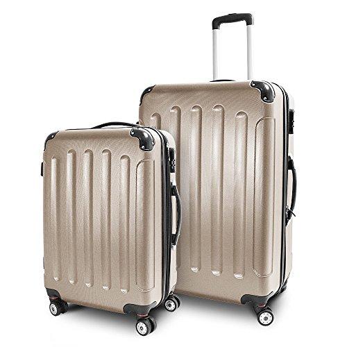 Kofferset L + XL 2-teilig Reisekoffer Trolley Hartschalenkoffer ABS Teleskopgriff Modell 'Stripes' (Champagne)