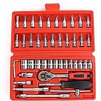 CICMOD 46 PCS 1/4(6.3 mm) Maletín con Juego de llaves de vaso (hexagonales), carraca y puntas de destornillador Juego de Herramientas