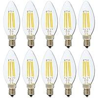C35 4W Filament Bulb LED Candle Light,Blanco cálido 2700K,Cristal transparente,360 lúmenes,4W equivalente a 40W,Base E14,Bullet Shape Top,Rayo de luz en ángulo de 360 °,No regulable,10 Piezas