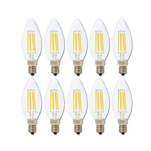 E14 LED Filament Glühfaden Lampe Birne C35 4W,40W Glühbirnen äquivalent,2700K Warmweiß,LED Lampe E14 Retrofit Classic klar Glas,360lm,kleine Edison-Schraube Kerze Glühbirne,Nicht Dimmbar,10 Pack