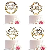 Whaline Acryl Happy Birthday Cake Topper Set Gold Tortenstecker Geburtstag, Glitter Topper Kuchendekoration (4 Stück)