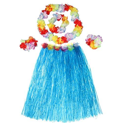 Hawaiian Luau Party Dekorationen Trachten Set mit 40 CM Länge Rock Kopfbedeckung Stirnband Lei Girlande Armbänder blau (Kleidung Luau Hawaiian)