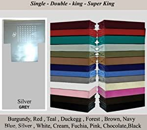 NON IRON FLAT SHEET Polycotton Plain Dyed Flat Sheets, 4 Sizes, Range Of 22 Colours, Pillow Cases (Silver Grey, SINGLE)
