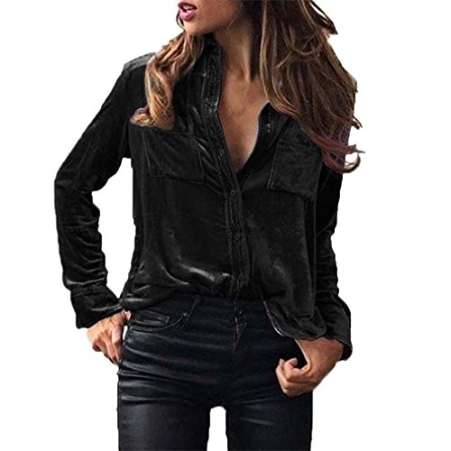 Bluse Damen Elegant, LHWY Winter Shirt Coat Button Strickjacke Womens Solid Velvet Umlegekragen Langarm T-Shirt Tops Bluse Revers Casual Daily Spring Kleidung Schwarz Blau (XL, Schwarz) (Reverse-hawaii-shirt)