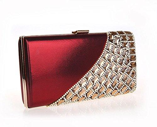 GSHGA Womens Frizione Borse Strass Sposa Borsa Sacchetto Del Pranzo Il Sacchetto Catena Shoulder Bags,Red Redwine