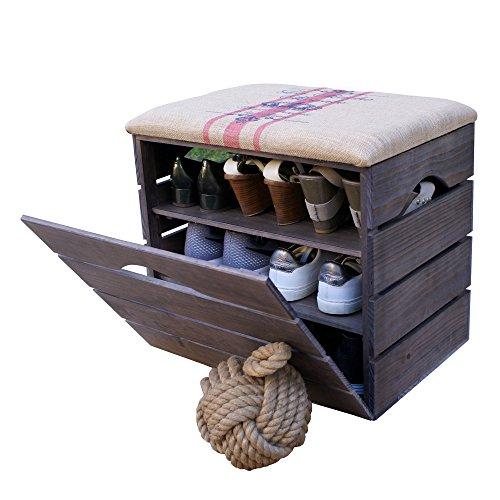 Liza line scarpiera di legno (talpa) con anta basculante, sedile rivestito di tessuto. panca portaoggetti con ripiani multiuso per conservare e scarpe. pino nordico massiccio - 51 x 45 x 36 cm (rosso rigato)