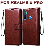 Bracevor Leather Flip Cover Case for Realme 5 Pro Foldable Stand | Wallet Card Slots | Inner TPU - Executive Brown