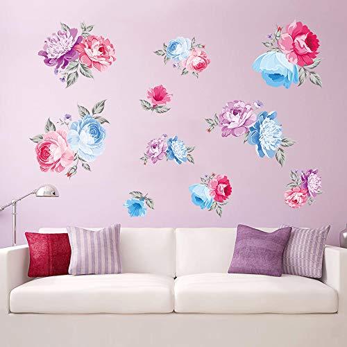 decalmile Pegatinas de Pared Rosas Flores Vinilos Decorativos Adhesivos Pared Dormitorio Salon Armarios