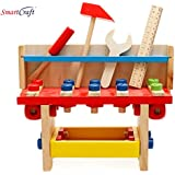 Smartcraft Wooden Learning Workbench - Children Engineering Learn Wood Workshop Tool Table Pretend Playset Toys All-in-One Toolbench Center For Child 3 Year And Up - Perfect For Gift