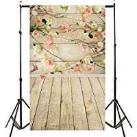 FLORATA 3x5ft Vinyl Backdrop Pink Flower Wall Wood Floor Collapsible Booth Shooting Backdrop for Kids Children by FLORATA