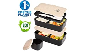 Umami ⭐ Lunch Box Negra Bambú | Bento Box Con 2 Compartimientos Herméticos Y 3 Cubiertos Sólidos | Apto Para Microondas Y Lavavajillas | Duradero, Saludable Y Con Estilo | Apto Para Adultos Y Niños