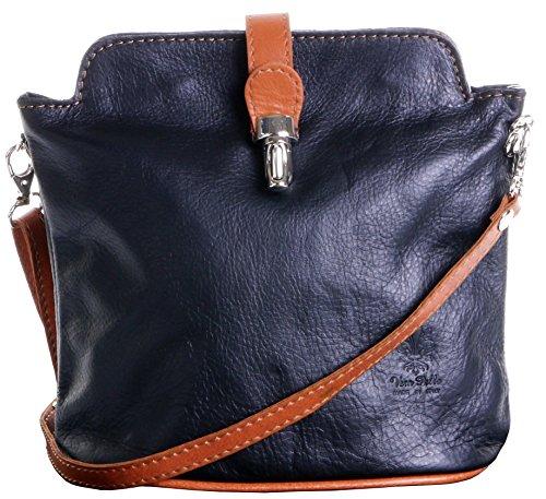 Schwarze Napa Leder (Primo Sacchi ® italienische weiche Leder Hand gemacht kleine schwarze und bräunliche Kreuz Körper oder Schultertasche Handtasche. Enthält einen Markenschutz-Beutel)