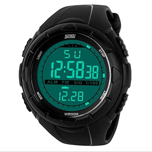 sunjas 5ATM resistente al agua deporte reloj de pulsera Fashion Men LCD Digital Cronómetro Cronógrafo Fecha Alarma de goma Deportes reloj de pulsera, negro