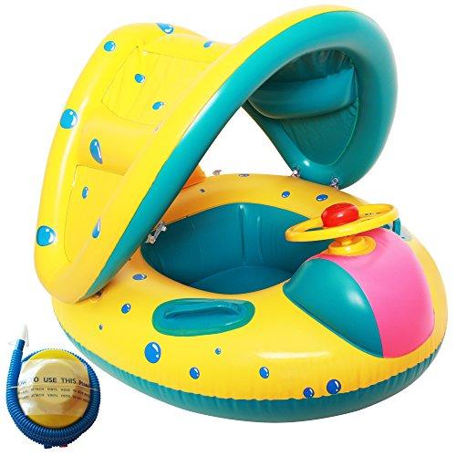 Raintwo Baby Schwimmsitz Geeignet für 6-36 Monate Baby mit Sonnendach Und eine Fußluftpumpe