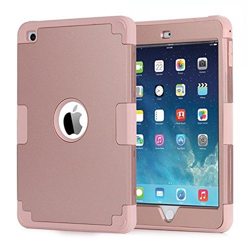 Coque iPad mini 4, Housse iPad mini 4, Etui iPad mini 4, BENTOBEN Etui Protection Complète iPad mini 4 avec Trois Couche en PC Dur + Silicone Souple Hybride Antichoc Housse de Protection Intégrale pour Apple iPad mini 4, Or Rose