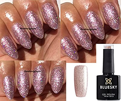 Bluesky 63903 Fairy Dust Light Pink Fine Glitter Iridescent Sparkle Nail Gel Polish UV LED Soak Off 10ml PLUS 2 Homebeautyforyou Shine Wipes