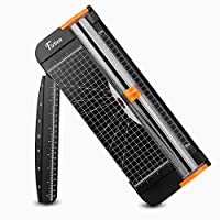 Firbon A4 Paper Cutter 12 Inch Titanium Paper Trimmer Scrapbooking Tool with Automatic Security Safeguard and Side Ruler for Craft Paper, Coupon, Label and Cardstock (Black)