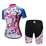 CHUANGQIF Frauen Radtrikot Anzug Radhose Shorts Sets 3D Kissen Gepolsterte Hose Reiten Sportbekleidung Atmungsaktiv Schnell trocknende Kleidung, Blue 2