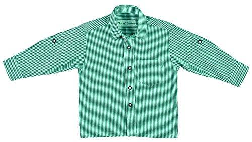 Isar Trachten Kinder Trachtenhemd Martin - Kariertes Hemd für Jungen zu Lederhose oder Jeans an Oktoberfest oder Kirchweih Grün