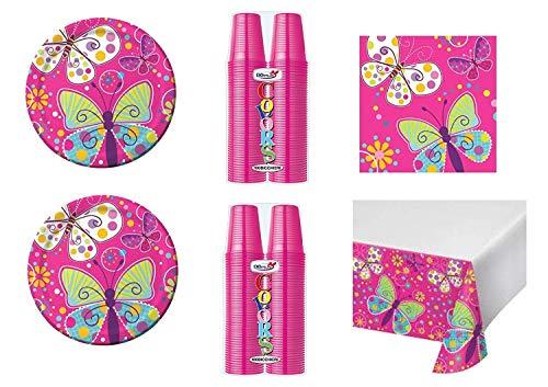 Koordinierte Mädchen Party-Thema Schmetterlinge bunt für Geburtstag Ereignisse Dekorationen Tisch Party-Kit N ° 6cdc- (8Teller, 8Becher, 16Servietten, 1Tischdecke)