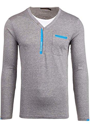 BOLF Herren Pullover Longsleev ohne Kapuze Sweatshirt New 18 Grau_6161