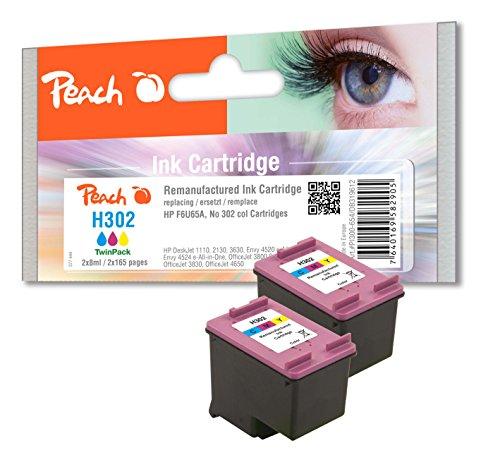 Preisvergleich Produktbild Peach Doppelpack Druckköpfe color kompatibel zu HP No. 302, F6U65A