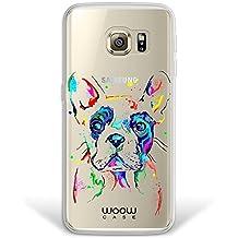Funda Samsung Galaxy S6 Edge Plus, WoowCase® [Hybrid] Perro Bulldog Francés Dibujos Animales Multicolor Case Carcasa [Samsung Galaxy S6 Edge Plus] Rígida fabricada en Policarbonato y bordes de TPU Silicona híbrida - Transparente