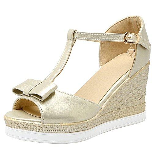 TAOFFEN Damen Elegant Peep Toe T-Spange Keilabsatz Sandalen mit Bogen Gold