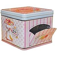Natives 610010Happy thérapie-Macarons Caja de Galletas Metal 17x 21x 17cm, Multicolor