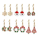 6paia Santa Claus Snowflake Jingle Bell orecchini gancio per l' orecchio donne gioielli di Natale