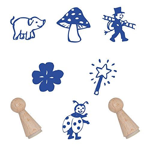 Stempelset mit Glücksmotiven / Stempel zur Verzierung zum Thema Glück Motivstempel Glück Ministempel Stempelchen ohne Stempelkissen (Stempel Kleeblatt)