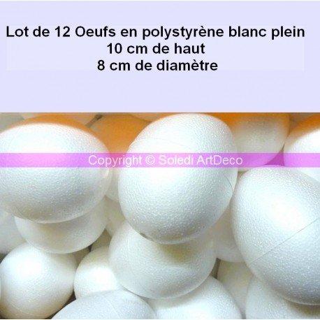 Set di 12 uova di 10 cm di altezza in polistirolo bianco riempito, diametro: 8 cm; densità elevata