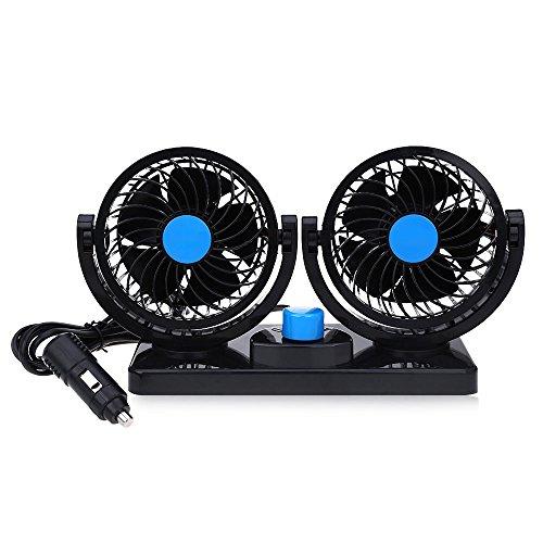 Taotuo 12V ventilador de coche eléctrico de 360 grados rotativo 2 velocidad...