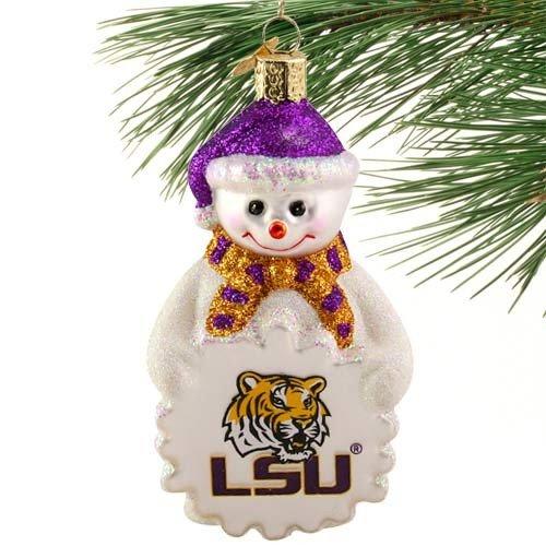 Old World Christmas Louisiana State University LSU Snowman Glass Ornament 60305 Lsu Louisiana State University