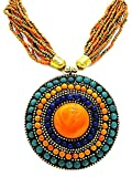 muccasacra Attractive Indian Hand Crafted Orange Round Medallion Beads Brass Plated Brass, Stone Necklace