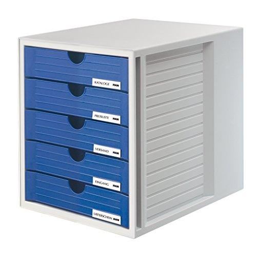HAN Schubladenbox SYSTEMBOX 1450-14 in Lichtgrau/Blau - Ordnungsbox DIN A4 - Aufbewahrungsbox mit geschlossenen Schubladen (Karton Schublade Organizer)