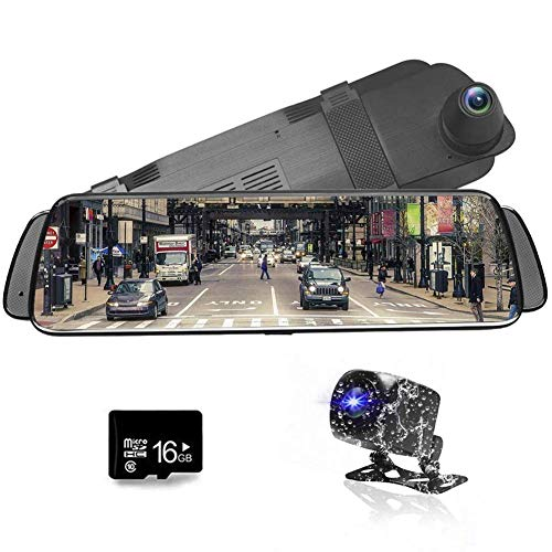 "Dashcam Autokamera 10"" Full HD 1080P Streaming Media Auto Videokamera DVR, der Recorder Rearviewspiegel, Wasserdichte Nachtsicht-Front und Rearview-Kamera"