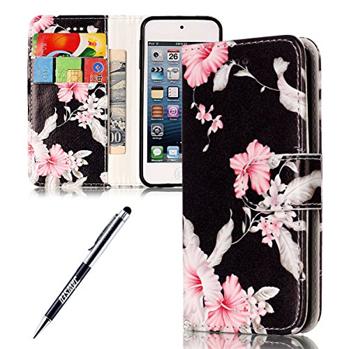 Kompatibel mit iPod Touch 5 Hülle,iPod Touch 6 Hülle,iPod Touch 5 6,JAWSEU Schwarz Rosa Blumen Muster PU Leder Hülle Schutzhülle Flip Case Brieftasche Tasche Handyhülle Klapphülle für iPod Touch 5/6 -
