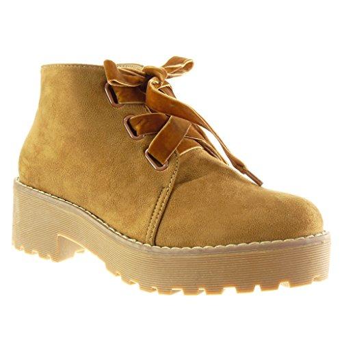 Angkorly Damen Schuhe Derby-Schuh - Combat Boots - Biker - Plateauschuhe - Fertig Steppnähte Blockabsatz High Heel 5 cm Camel