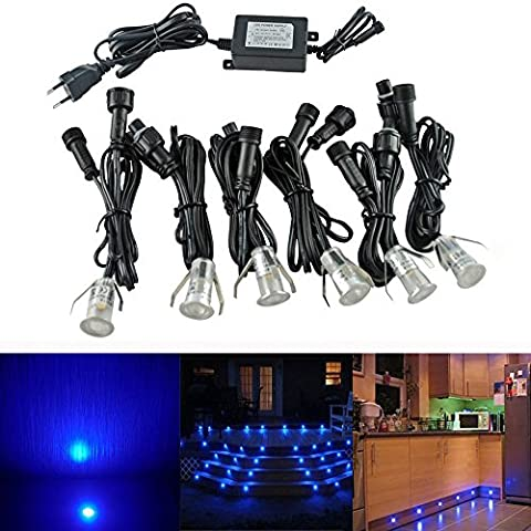 Lot de 6 Lampe de Spot LED Mini Ø18mm Eclairage encastré Inox pour Terrasse Enterré Plafonnier, IP67 Etanche DC12V Lumière Extérieure pour Chemin Escalier Paysage Etape (Bleu)