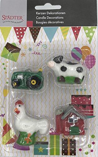 4 Minikerzen * BAUERNHOF * für Party und Geburtstag // Kerzen Kuchen Torte Deko Candle Traktor Hahn Kuh Bauernhaus